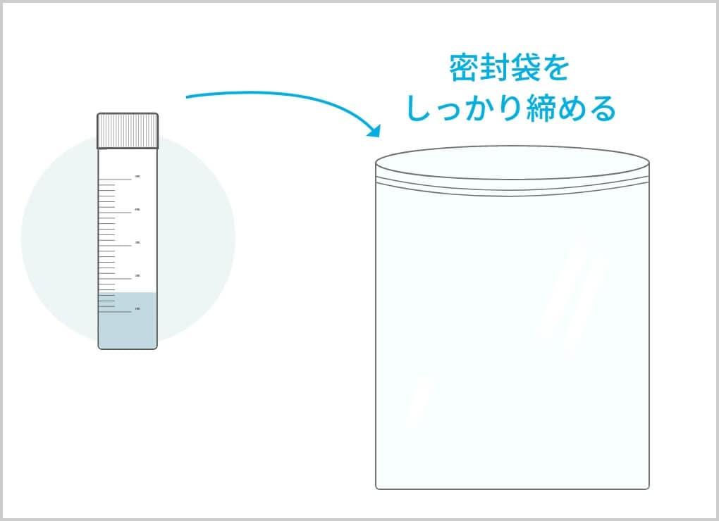 唾液保存容器を密封袋に入れます。