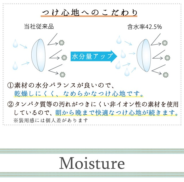 ネオサイトワンデーリングUV_なめらかなつけ心地。装用感と乾燥感のバランスを考え、水分を適度に多く含む素材(含水率42.5%)を採用しています。(スマホサイト)