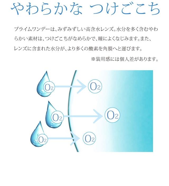 プライムワンデー(100枚入):プライムワンデーは、みずみずしい高含水レンズ。高含水レンズの特徴は2つあります。1つ目は、素材のやわらかさ。水分を多く含むやわらかい素材は、つけ心地がなめらかで、瞳によくなじみます。2つ目は、酸素透過性。レンズに含まれた水分が、より多くの酸素を角膜へと運びます。