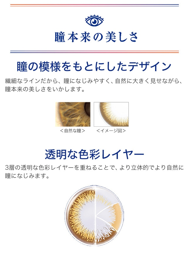ワンデーアキュビューディファインモイスト_至近距離でも自然で美しい。日本人の瞳をもっとも美しく見せるといわれている、瞳の黄金比率「白目:黒目:白目」の比率が「1:2:1」に近づけます。