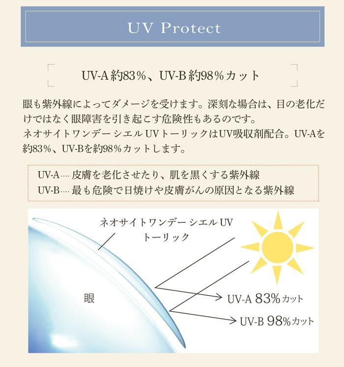 乱視用カラコン ワンデーアイレ シエルUV トーリック:UV-A約83%、UV-B約98%カット