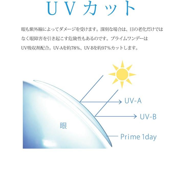 プライムワンデー(100枚入): プライムワンデーはUV吸収剤を配合しているので、瞳を紫外線からしっかり守ります。