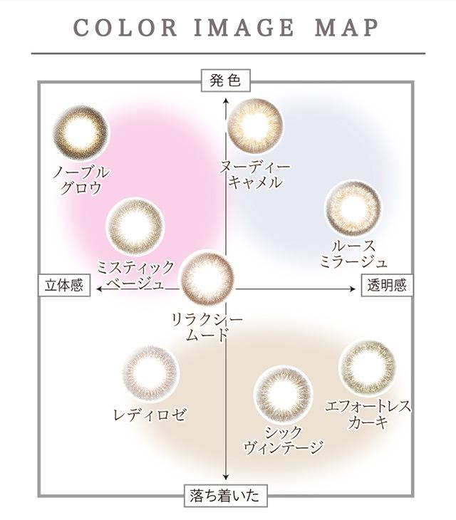 レリッシュ LALISH 中村アン プロデュースカラコン カラーイメージマップ