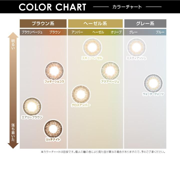 エバーカラーワンデールクアージュ 沢尻エリカ イメージモデル 10枚入り:カラーチャート