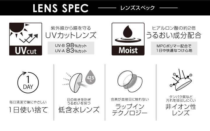 エバーカラーワンデールクアージュ 沢尻エリカ イメージモデル 10枚入り:レンズスペック UVカットレンズ、うるおい成分配合、1日使い捨て、低含水レンズ、ラップインテクノロジー、非イオン性レンズ