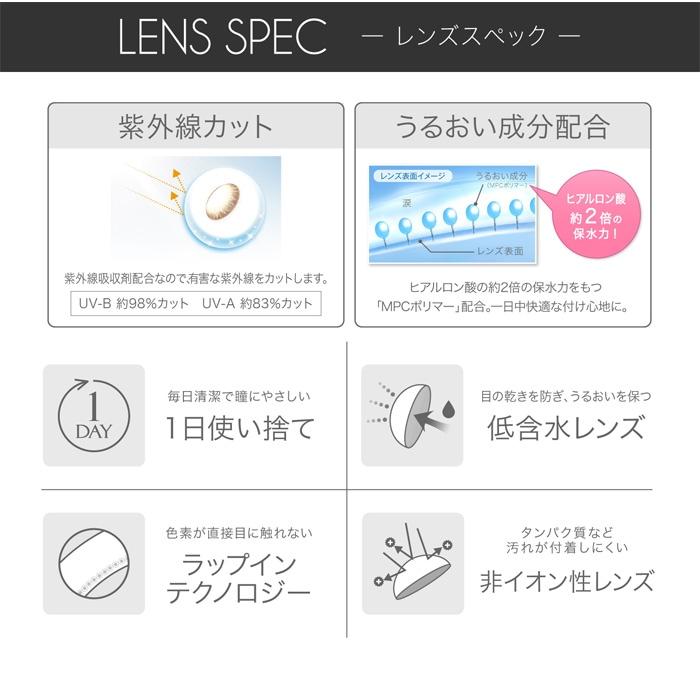 エバーカラーワンデールクアージュ 10枚入り:レンズズペック、うるおい成分配合、紫外線カット、非イオン性レンズ、ラップインテクノロジー