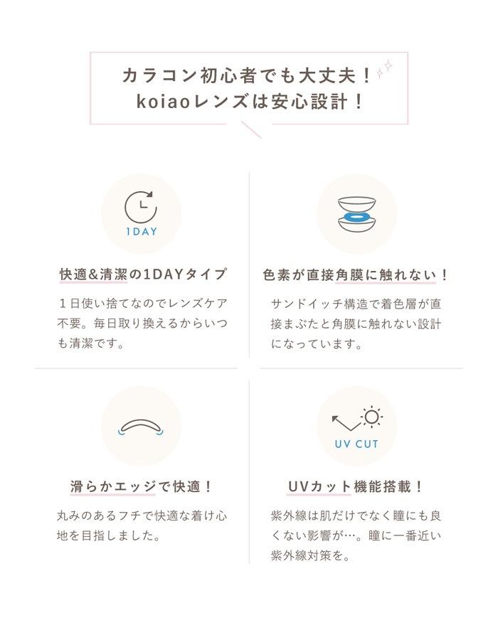 koiaoコイアオワンデー:快適&清潔の1DAYタイプ 色素が直接角膜に触れない 滑らかエッジで快適 UVカット機能