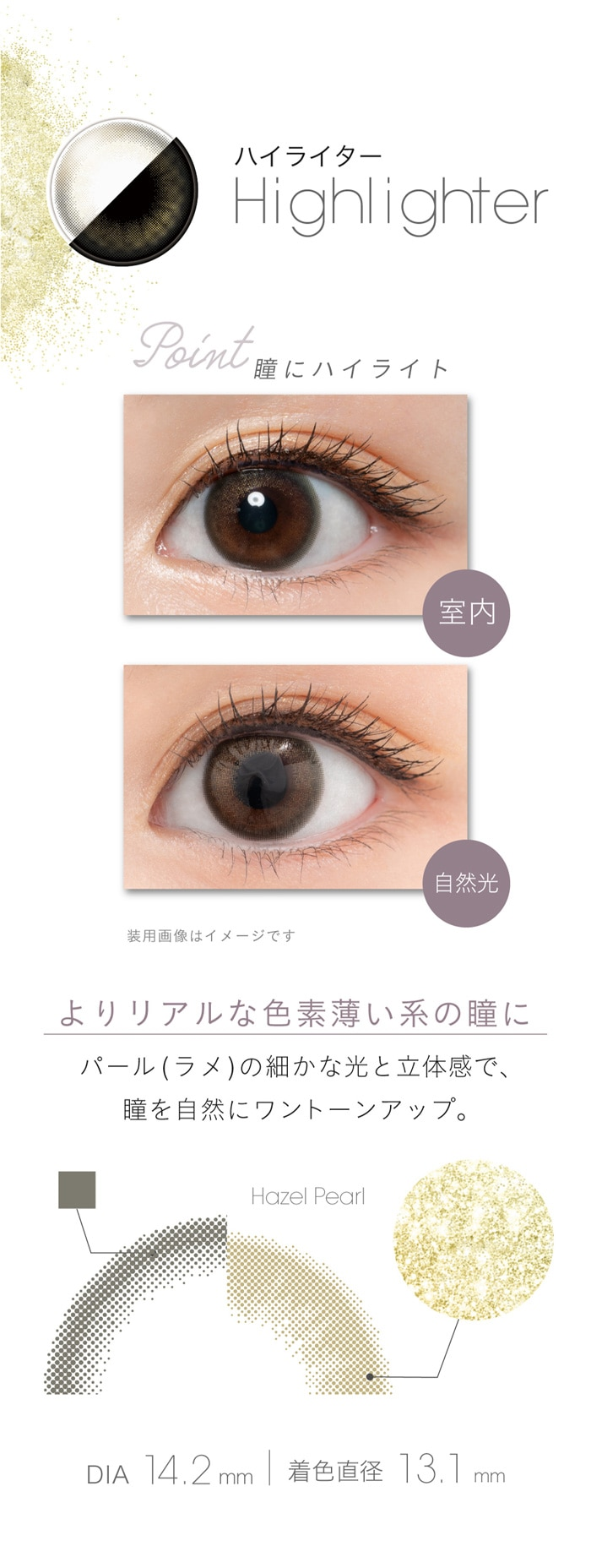 フェアリーワンデーシマーリング(10枚入):ハイライター、よりリアルな色素薄い系の瞳に