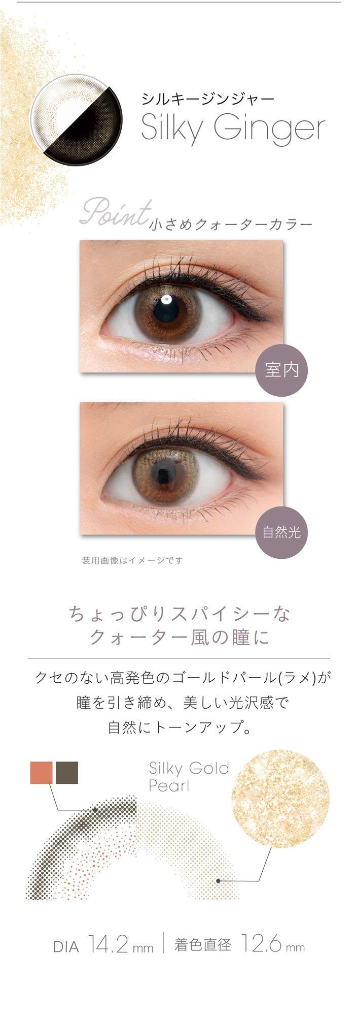フェアリーワンデーシマーリング(10枚入):シルキージンジャー ちょっぴりスパイシーなクォーター風の瞳に