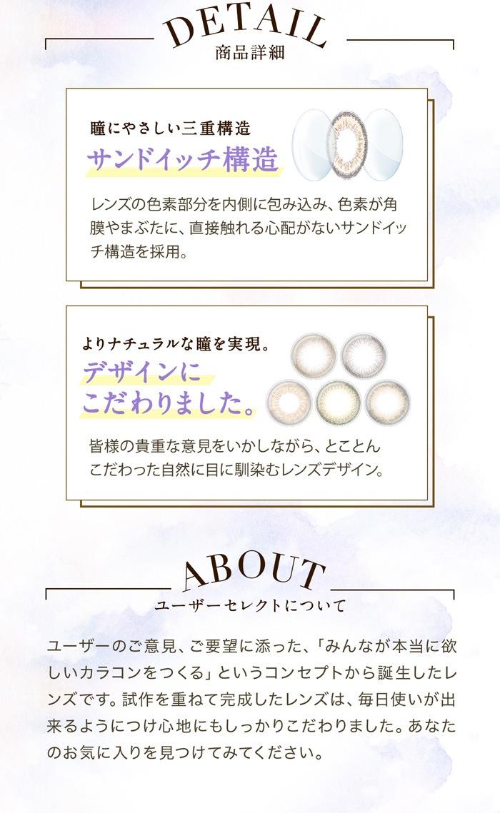 セレクトフェアリーユーザーセレクトワンデー_商品詳細。瞳に優しいサンドイッチ構造。よりナチュラルな瞳を実現。デザインにこだわりました。