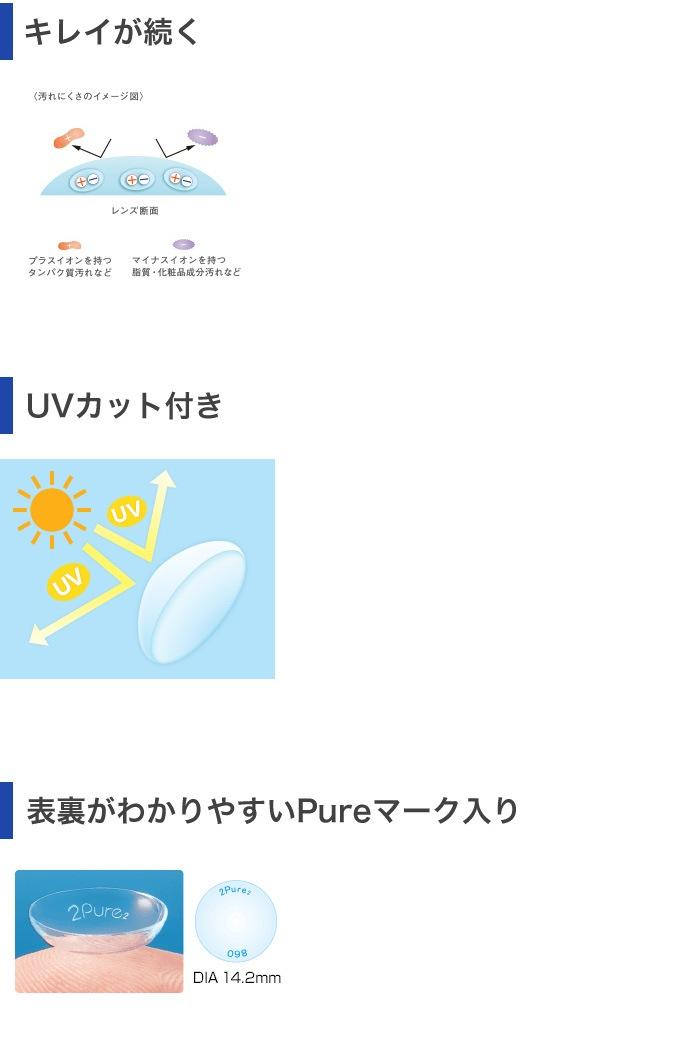 2ウィークピュアうるおいプラスしっかりケア用品3か月セット_キレイが続く。UVカット付き。表裏がわかりやすいPureマーク入り。