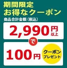 商品合計金額2990円以上で100円クーポンプレゼント