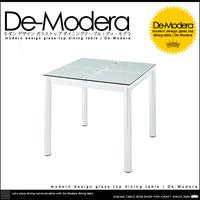 モダンデザイン ガラス ダイニングテーブル W80
