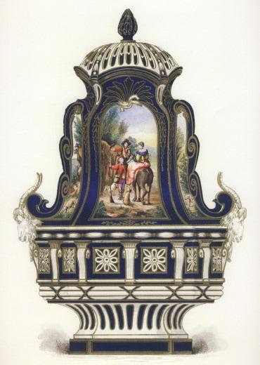 セーブルの軟質磁器 複製 原寸大 紺 壺 ブルー