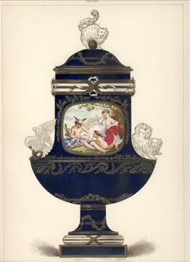 セーブルの絵 ポーセリン セーヴル ブルー コバルト 紺 壺