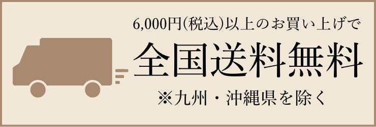 6,000円(税込)以上のお買い上げで全国送料無料 ※九州・沖縄県を除く