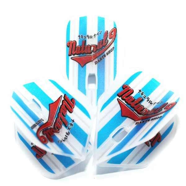 ブルーのストライプと赤いロゴがポップなダーツフライト