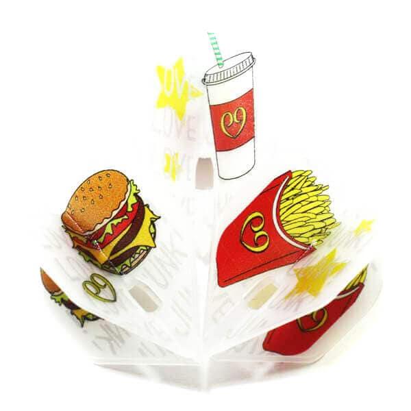 ハンバーガー、ポテト、シェイクのポップでオシャレなダーツフライト