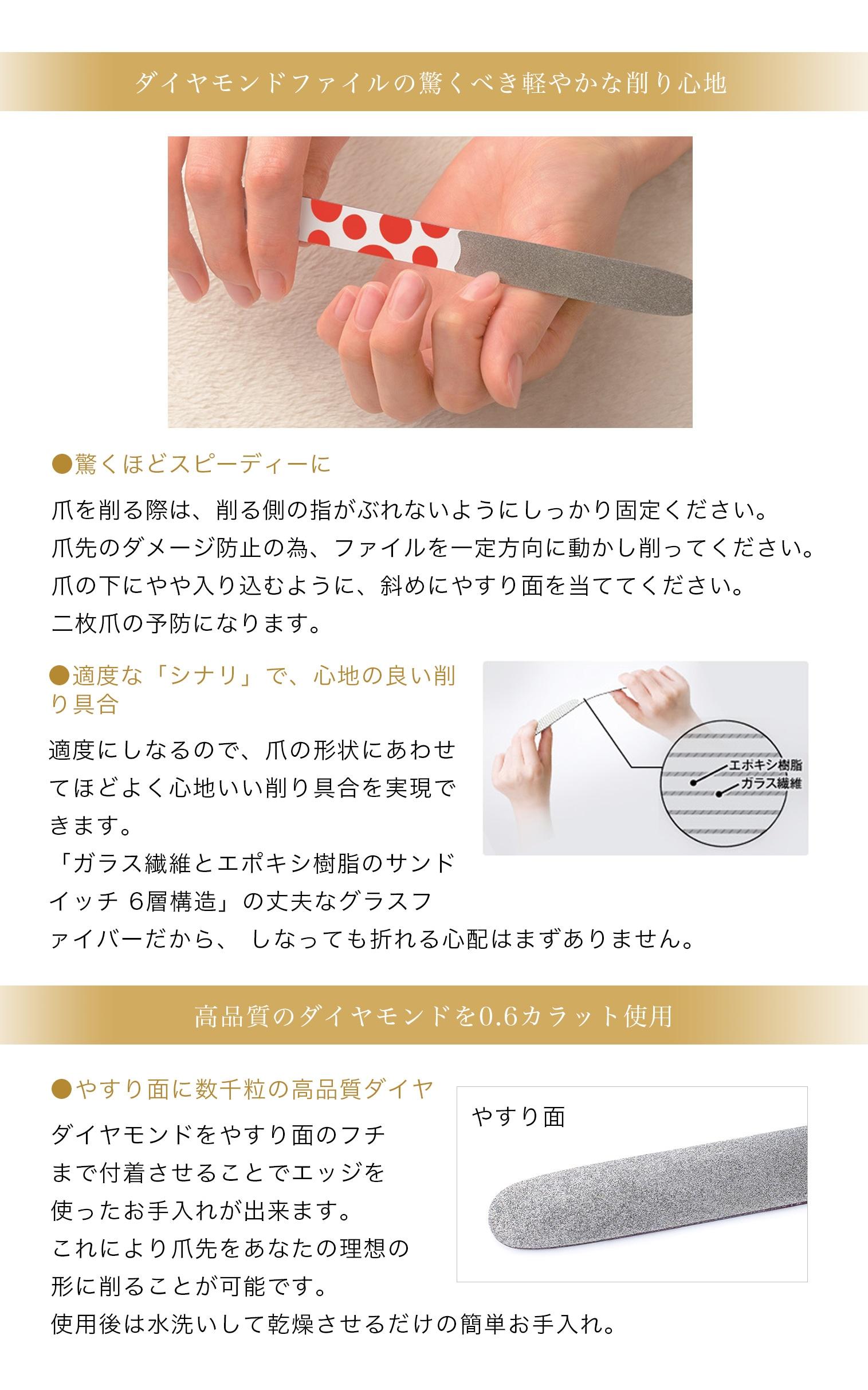ダイヤモンドファイルの驚くべき軽やかな削り心地●驚くほどスピーディーに爪を削る際は、削る側の指がぶれないようにしっかり固定ください。爪先のダメージ防止の為、ファイルを一定方向に動かし削ってください。爪の下にやや入り込むように、斜めにやすり面を当ててください。二枚爪の予防になります。適度な「シナリ」で、心地の良い削り具合適度にしなるので、爪の形状にあわせてほどよく心地いい削り具合を実現できます。「ガラス繊維とエポキシ樹脂のサンドイッチ 6層構造」の丈夫なグラスファイバーだから、 しなっても折れる心配はまずありません。高品質のダイヤモンドを0.6カラット使用●やすり面に数千粒の高品質ダイヤダイヤモンドをやすり面のフチまで付着させることでエッジを使ったお手入れが出来ます。これにより爪先をあなたの理想の形に削ることが可能です。使用後は水洗いして乾燥させるだけの簡単お手入れ。