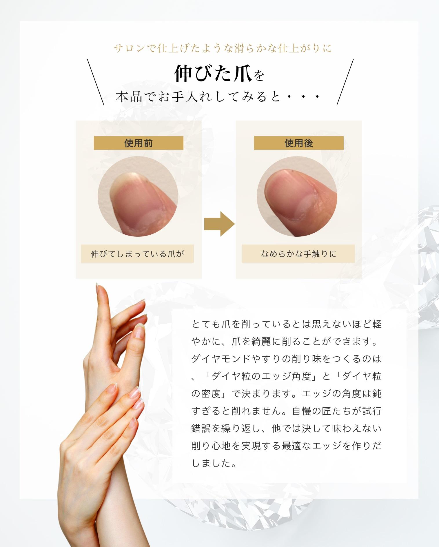 サロンで仕上げたような滑らかな仕上がりに伸びた爪を本品でお手入れしてみると・・・使用前伸びてしまっている爪が使用後なめらかな手触りにとても爪を削っているとは思えないほど軽やかに、爪を綺麗に削ることができます。ダイヤモンドやすりの削り味をつくるのは、「ダイヤ粒のエッジ角度」と「ダイヤ粒の密度」で決まります。エッジの角度は鈍すぎると削れません。自慢の匠たちが試行錯誤を繰り返し、他では決して味わえない削り心地を実現する最適なエッジを作りだしました。