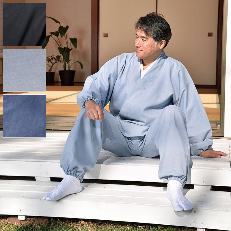 テト麻作務衣(黒・こげ茶・うす茶・紺・鼠)(S-LL)