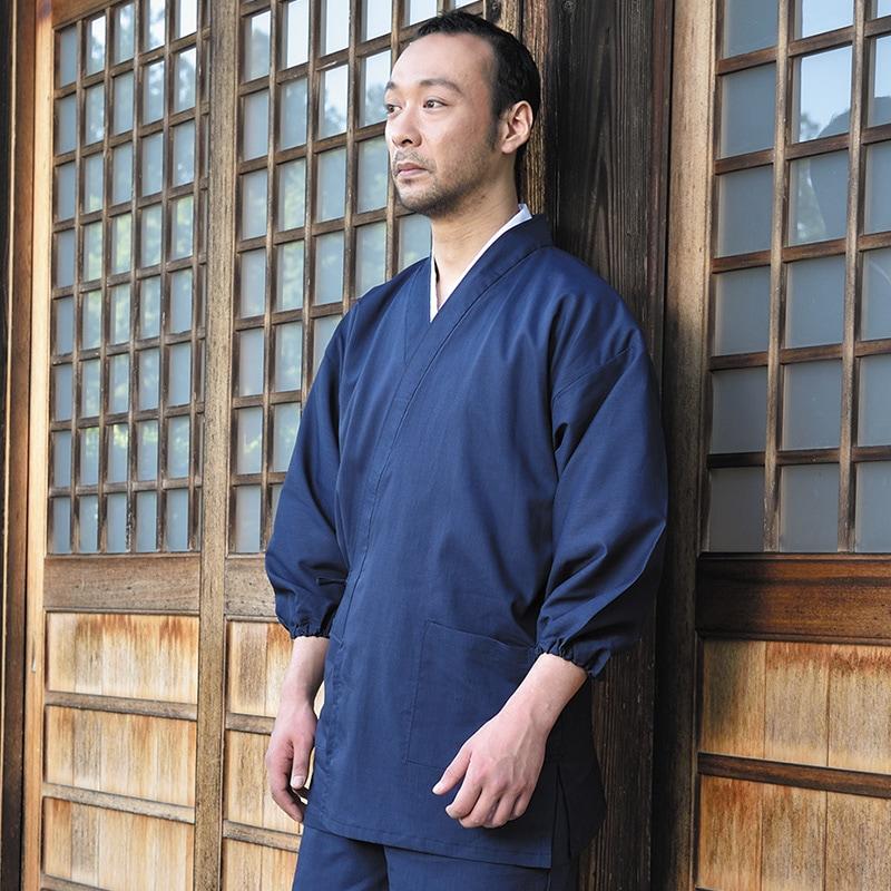 袖裾ゴム式テト麻作務衣(M-LL)