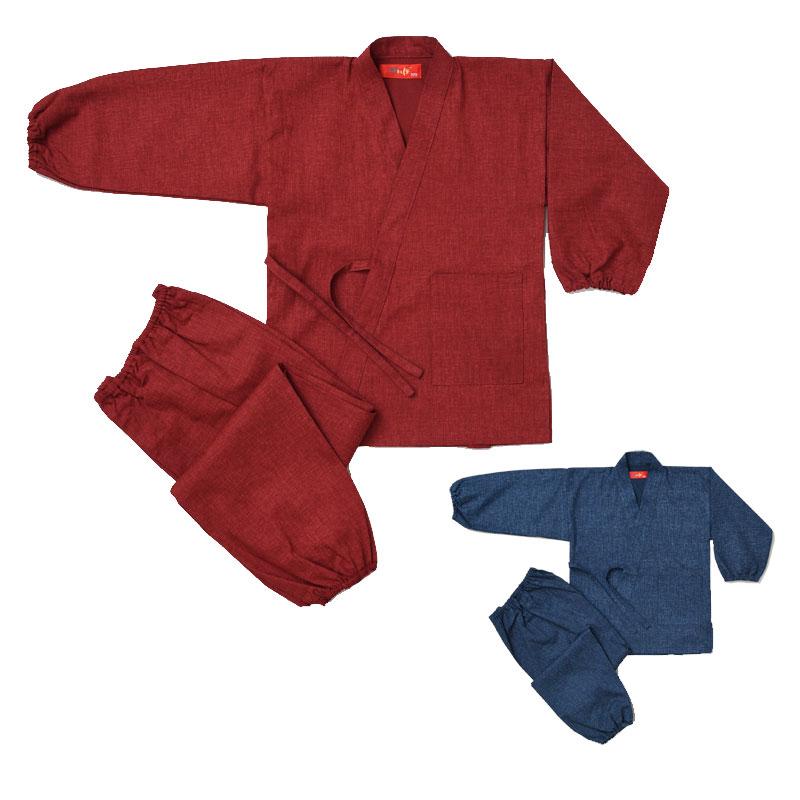 子供用作務衣 紬調(赤・紺)(90-150cm)