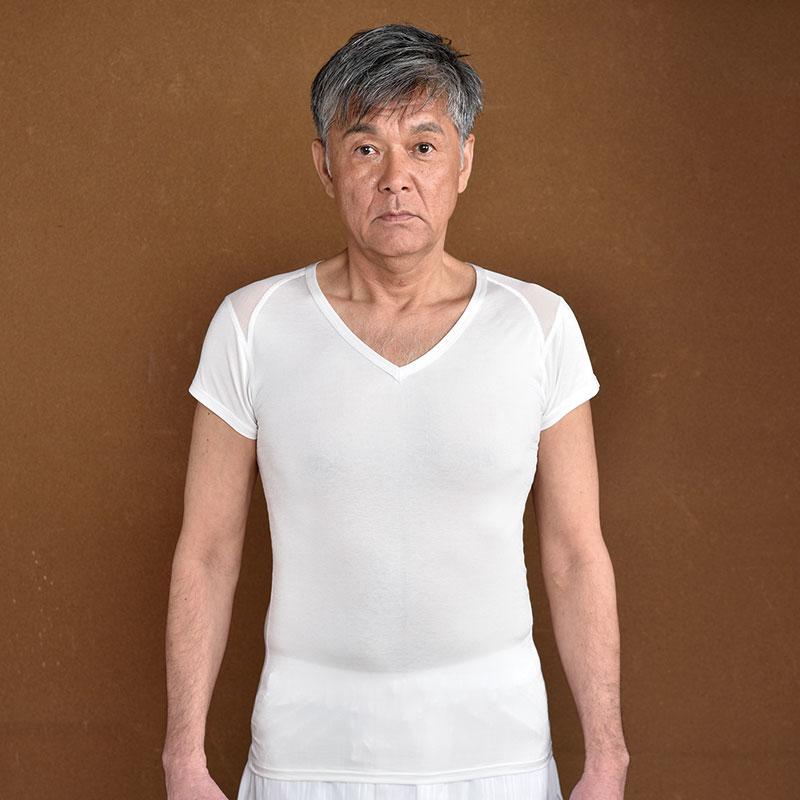 ひだまり涼 すずみ 紳士Vネックシャツ(M-LL)