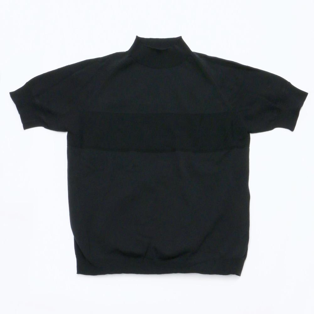 サマーニットモックネックシャツブラック置撮り