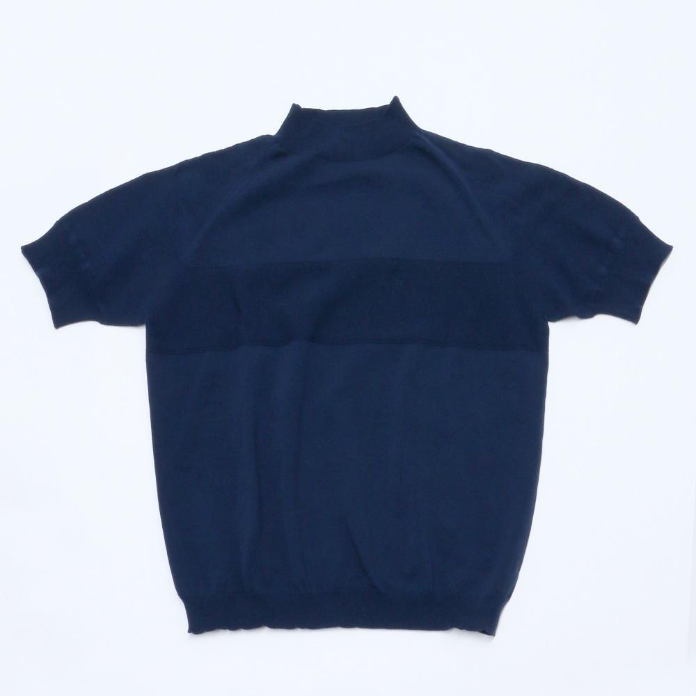 サマーニットモックネックシャツネイビー置撮り