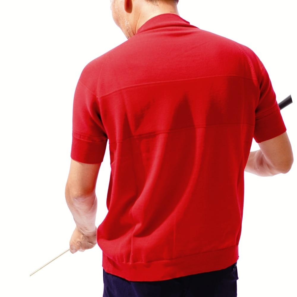 サマーニットモックネックシャツモデル着用