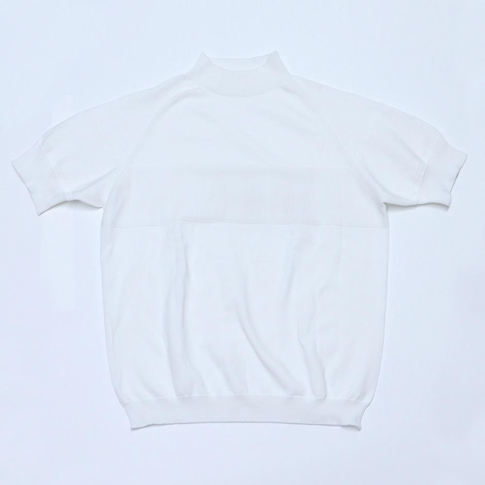 サマーニットモックネックシャツホワイト置撮り