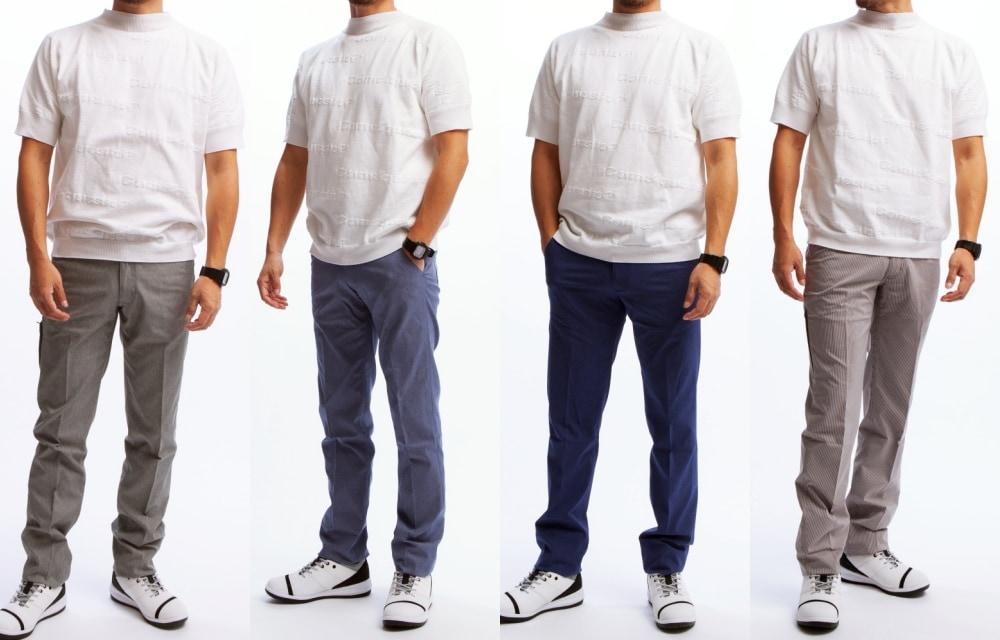 サマーニットモックネックシャツモデル着用4色