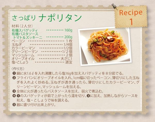 レシピ1さっぱりナポリタン
