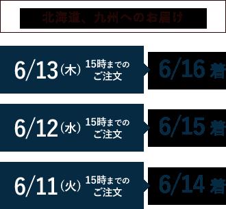 北海道、九州へのお届け