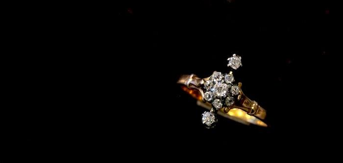 ダイアリング 星座 アンティーク リング 18金 ダイアモンド ダイヤモンド