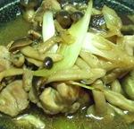 鶏もも肉とキノコのにんにく醤油炒め
