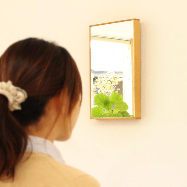 卓上・壁掛け対応、木製フレームの鏡、「ミラー Sサイズ」北欧風デザイン