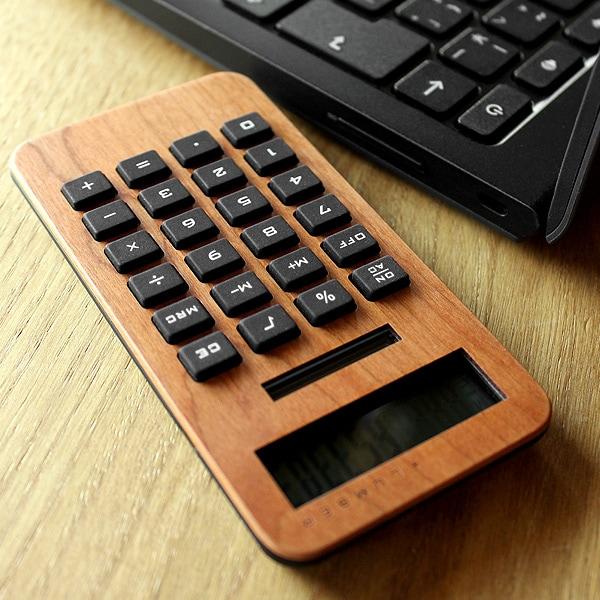 小型の10桁表示木製ソーラー電卓
