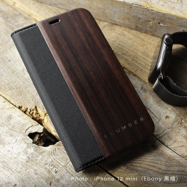 iPhone 12ミニ用木製手帳型ケース