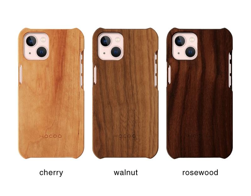 無垢の天然木を削り出してつくったHacoaブランドの木製iPhone13用ケース