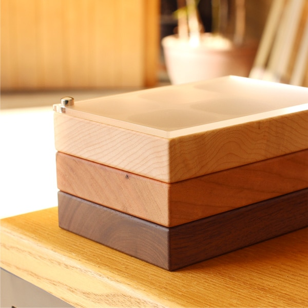 スタッキング可能な木製ジュエリーボックス・小物入れ