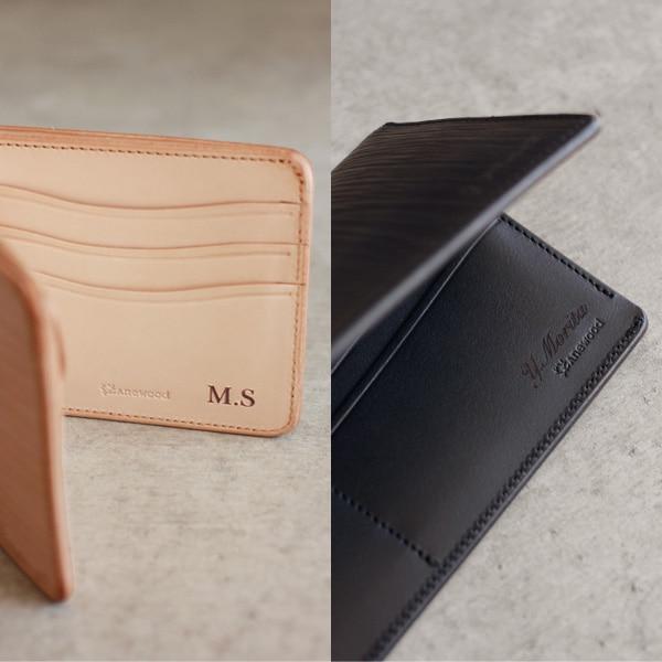 レーザー刻印による名入れ刻印ができます、名前の他にメッセージや日付なども刻印可能、世界に一つだけのオリジナル手作り財布を作成します。