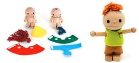 自由に変形するかわいい木製のお人形「こまむ・どぉる」