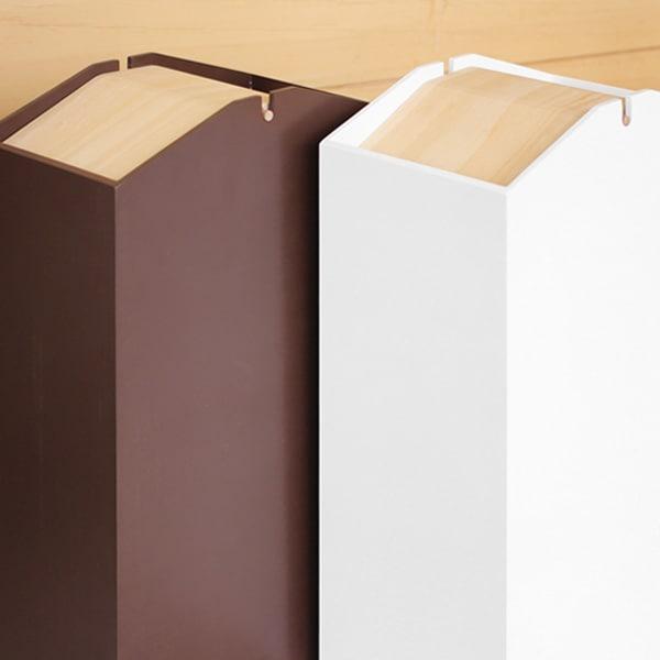 回転式のふたつき、おしゃれな木製ダストボックス