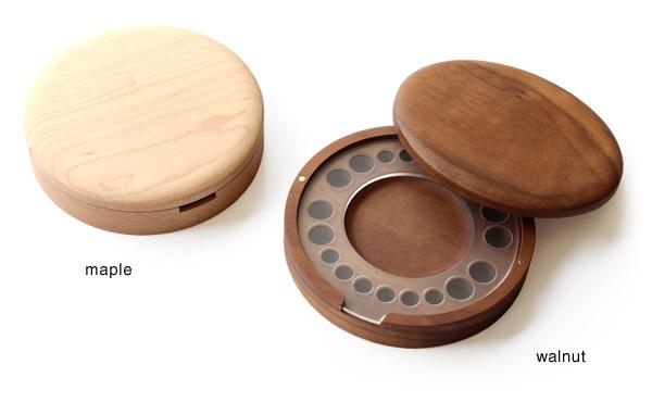 銘木メープルとウォールナットを使用した木製乳歯入れ