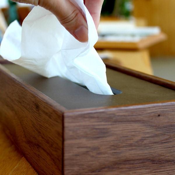 おしゃれでシンプルな置き蓋式木製ティッシュケース