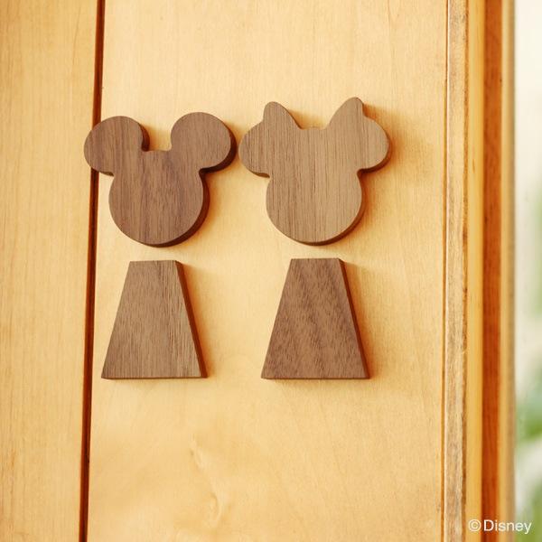シンプルな佇まいでミッキーとミニーを身近に感じられるルームサイン。お部屋の中のアクセントにどうぞ。