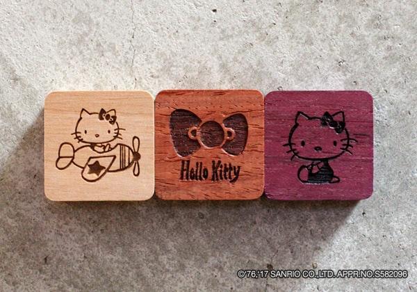 サンリオのキャラクター「ハローキティ」とコラボした木製マグネット