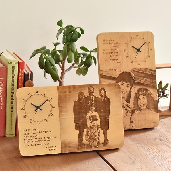 高級感ある無垢の木材、リビングや寝室の片隅に飾ってもセンス良い時計です。